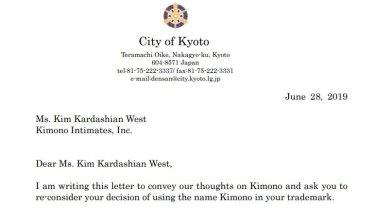 A letter from Kyoto mayorDaisaku Kadokawa to Kim Kardashian West protesting the 'Kimono' name of her shapewear line.