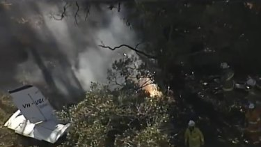 The scene in Greenbank where a light plane crashed into trees and caught fire.