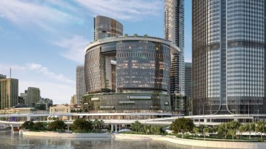 An artist's impression of new work at the Brisbane River edge of the $3.6 billion Queen's Wharf development.