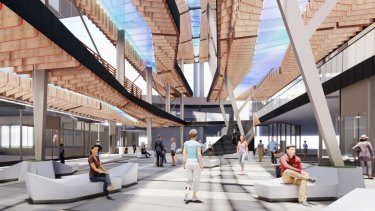 An artist's impression of the new rooftop canopy proposed for World Square shopping centre.