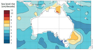 The rate of sea level rises around Australia by satellite observations from 1993 to 2017.