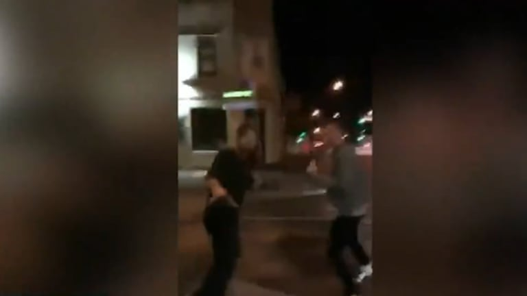 Disturbing video footage has emerged of a vicious assault outside fast food restaurant in Collingwood.