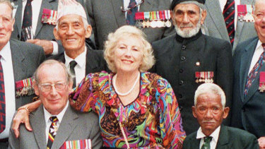 Britain's Dame Vera Lynn with Victoria Cross holders from the Second World War in 1995.