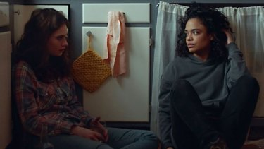 Lily James (left) as Deb and Tessa Thompson as Ollie in Little Woods.