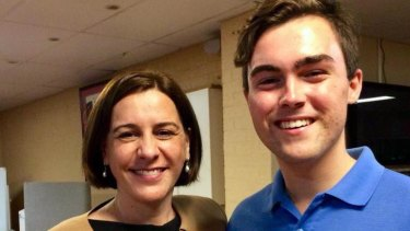Queensland LNP leader Deb Frecklington with suspended Gold Coast Young LNP chair Barclay McGain.