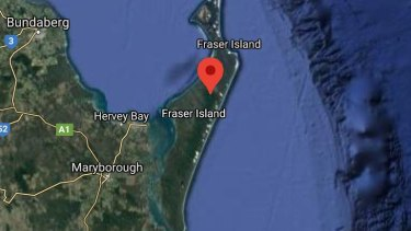 Fraser Island map showing the location of Lake Bowarrady.