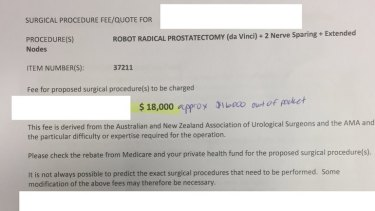A redacted copy of a surgical quote for robotic radical prostatectomy.