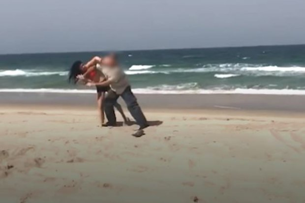 Police released footage of the assault of two Bribie Island rangers on Saturday.