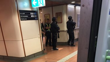 Police at Flagstaff station on Thursday morning.