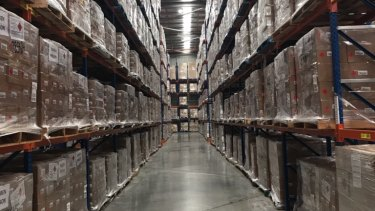 Bottles of hand sanitiser made by Pact Group stored at the company's Eastern Creek warehouse ready for dispatch.