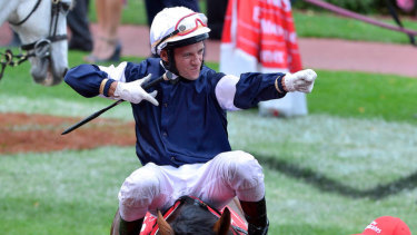 Back home: Brett Prebble after winning the Melbourne Cup on Green Moon.