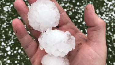 Massive hail lashed parts of Melbourne on Sunday.