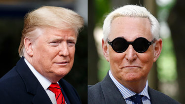 Donald Trump has defended his friend Roger Stone, right, who was sentenced to prison for lying to the law enforcement.