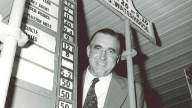 Bill Waterhouse at his stand in Melbourne in the early 1970s.