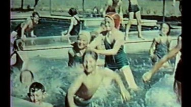 Children who lived at the Werribee sewerage farm swim in the main town's pool.