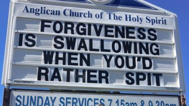 A sign posted outside the Surfers Paradise Anglican Church of the Holy Spirit.