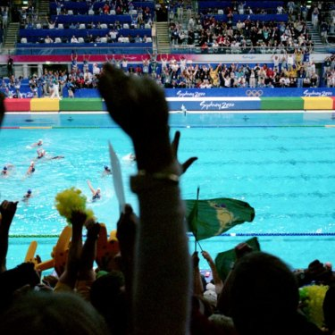 The crowd goes wild as Australia scores the goal to seal the gold medal.