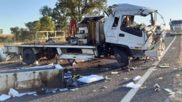A truck rollover on the Dawson Highway in the central Queenslnd town of Biloela on April 20. The driver suffered serious injuries.
