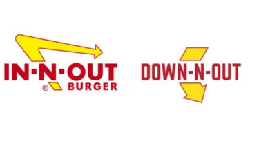 A composite image of US fast food outlet In-N-Out Burger and the Australian Down N' Out.