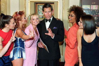 The Spice Girls meeting Prince Charles in 1997.