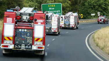 CFA Fire Trucks travelled in convoy towards East Gippsland on Friday ahead of expected dangerous fire weather.