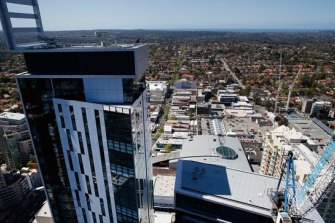 Metro Grand, the tallest of three towers in the Metro development in Chatswood, will be Sydney's highest apartment block upon completion.