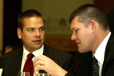 Old pals: Lachlan Murdoch, left and James Packer, in Sydney