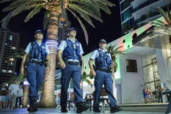 Gold Coast police on the beat at Surfers Paradise.