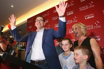 Daniel Andrews and his family celebrate his election win last year.