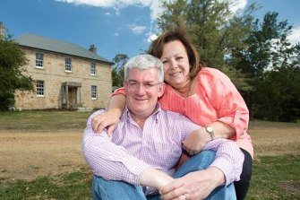 Historic move: Economist Saul Eslake with his wife Linda Arenella outside their 180-year-old Tasmanian home.