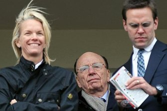 Elisabeth, Rupert and James Murdoch in 2013.