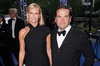 Lachlan Murdoch pictured with wife Sarah.