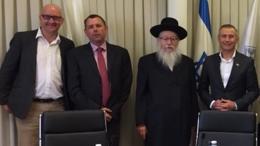 Deputy Premier Roger Cook (right) and Mount Lawley MP Simon Millman (left) meet Israeli politicianYaakov Litzman and an unknown man.