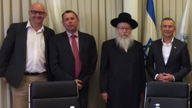 Deputy Premier Roger Cook (right) and Mount Lawley MP Simon Millman (left) meet Israeli politician Yaakov Litzman and an unknown man.