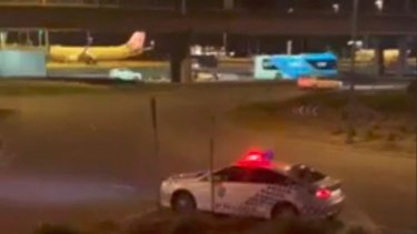 Police arrested a woman on Wednesday night at Brisbane Airport following a robbery at Woodford in Queensland.