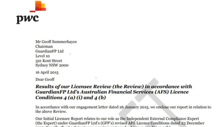 The draft of PwC's report on Guardian's issues, which has been obtained by Fairfax.