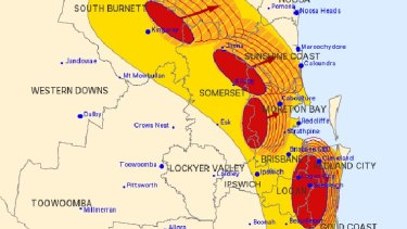 The four severe storm cells over south-east Queensland at one point on Monday night.