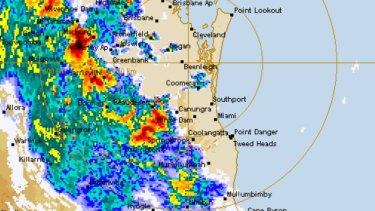 The Bureau of Meteorology radar shows a swathe of stoms approaching Queensland's south-east on Monday, October 18.