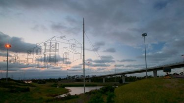 'House in the Sky' wire installation that is suspended above the Western Ring Road.