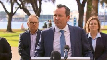 Premier Mark McGowan addresses media in the southern coastal town of Mandurah.