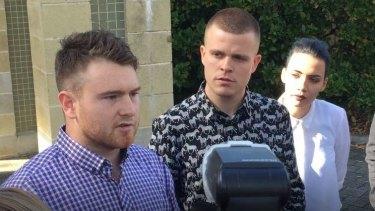Kieran Beattie, James Warden and Taryn Wills at Mandurah Magistrates Court.