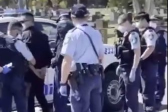 Four people were arrested at Rookwood Cemetery on Wednesday.