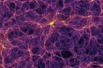 A map of the distribution of the universe's dark matter. The bright areas represent the highest concentrations - they are also where galaxies form.