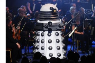 A dalek on stage as part of the  Doctor Who Symphonic Spectacular.
