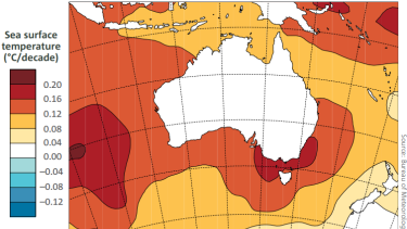 Trends in sea surface temperatures in Australia from 1950 to 2017.