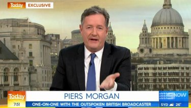 Piers Morgan appearing on Nine's Today show on Thursday morning.