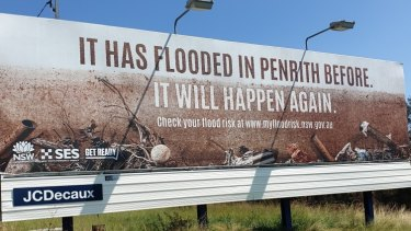 A 'Get Ready for Flood' billboard in Sydney's west.