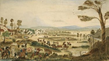 An 1861 painting of the Wills Tragedy, a pivotal moment in the Queensland frontier wars.