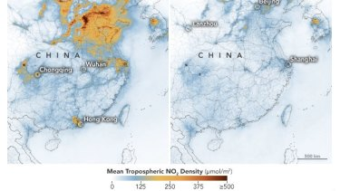 NASA mapping shows significant drop in nitrogen dioxide air pollution over China.