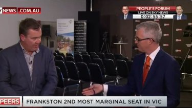 Liberal candidate for Frankston Michael Lamb in an awkward interview with David Speers on Sky News.